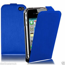 New Apple iPhone 5 5S Blue Leather Flip Case With Screen Protector