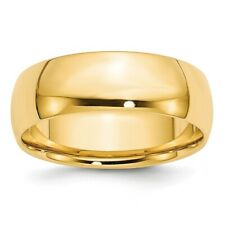 Solid 14k Yellow Gold Comfort Fit Lightweight Wedding Band Ring Sizes 4 to 14