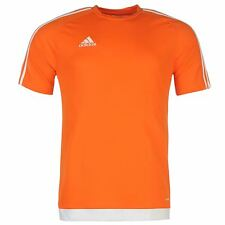 Adidas 3 Stripe Estro T-Shirt Mens Orange/White Top Tee Shirt