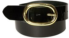 """FRONHOFER Patent leather belt with a gold-tone oval buckle, 1.5""""/4 cm, real leat"""