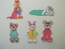 3D-U Pick - BE3 Sleepover Bear Cat Bunny Bed Mouse  Scrapbook Card Embellishment