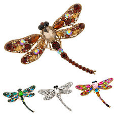 Women's Dragonfly Crystal Brooch Lovely Rhinestone Scarf Pin Jewelry Precise