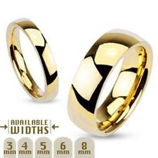 316L Stainless Steel Gold IP High Polished Finish 4mm Wedding Band Size 7-8 Ring
