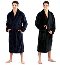 Mens Soft Warm Thick 300g Fleece Dressing Gown Robe BLACK BLUE Size M L XL XXL