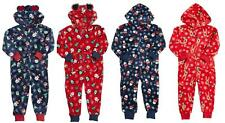 Boys Girls Onesie CHRISTMAS FLANNEL FLEECE HOODED Blue Red Santa SnowmanReindeer