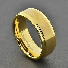 8mm Men's Tungsten Carbide Gold Satin Flat Top Step Edge Wedding/Engagement Band