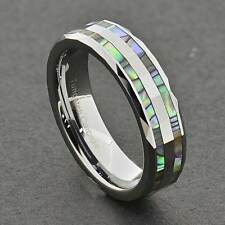 6mm Abalone Shell Inlay Faceted Shiny Top Tungsten Carbide Women's Wedding Band