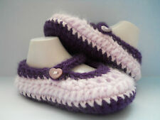 Handmade Knit / Crochet Gorgeous Baby Girls Tea Party Mary Jane Shoes / Booties