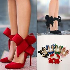 New Sexy Women's Ladies Pointy Toe High Heel Pumps Stilettos Bow Shoes ED