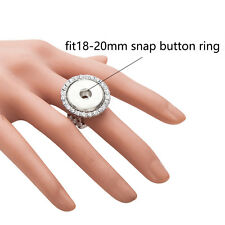 Wholesale Lots Adjustable Ring W/Rhinestone Fit 18mm Snaps Buttons size free