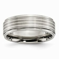 Chisel 7mm Brushed Titanium & Sterling Silver Inlay Band Size 7 to 13