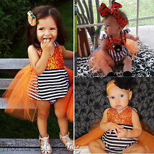 Toddler Baby Girls Halloween Playsuit Jumpsuit Romper Striped Sequins Tutu Dress