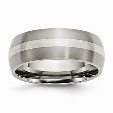 Chisel 8mm Brushed Titanium & Sterling Silver Center Inlay Band Size 7 to 14