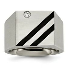 Chisel Stainless Steel Brushed Black IP-Plated Single CZ Ring Size 9 to 12