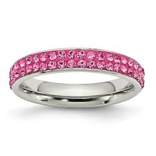 Chisel 4mm Polished Stainless Steel Pink Crystal Ring Size 6 to 9