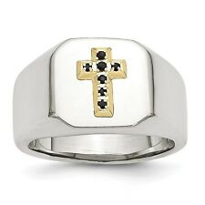 Chisel Stainless Steel 14k & Sapphire Cross Ring Size 9 to 11