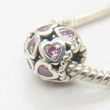 Authentic Genuine Sterling Silver FANCY PINK OPENWORK LOVE BONDS CHARM Bead