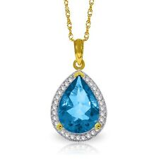 Natural Blue Topaz Pear Gemstone & Diamonds Halo Pendant Necklace 14K Solid Gold