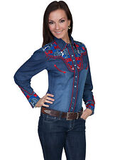 Scully Western Womens Denim Polyester L/S Multi-Floral Western Shirt
