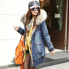 Winter Womens Fur Hooded Warm Thicken Fleece Lined Jacket Denim Jeans Coat Parka