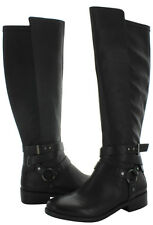 NEW BCBGENERATION KAI BLACK LEATHER & FAUX LEATHER KNEE HIGH RIDING BOOTS 9.5 M