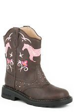 Roper Horse Flowers Kids Brown Faux Leather Girls Boots