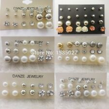 12 Pair/Lot wholesale Fashion Classic Bead Crystal Stud Earrings Set Women Jewel