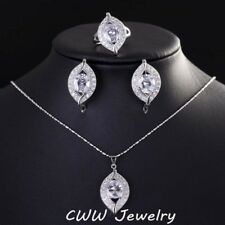 Crystal set Silver plated Wedding Necklace Earrings ring Women Jewelry