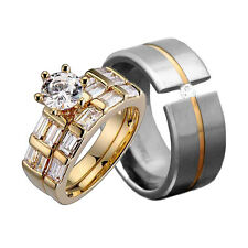 His & Hers 3 Piece 14k Gold Plated CZ Wedding Engagement Ring Band Set fk