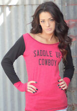 Original Cowgirl Clothing Saddle Up Cowboy Long Sleeve Relaxed Top Tee Shirt