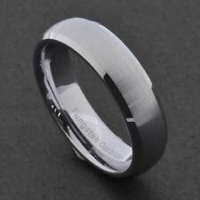 5mm Tungsten Silver Satin Dome Top Shiny Bevel Edge Unisex Wedding Band