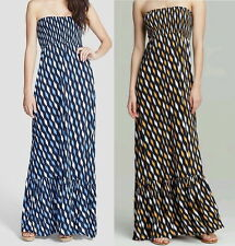 MICHAEL KORS Strapless Loom Print Maxi Dress Oxford Blue Vintage Yellow XS S XL