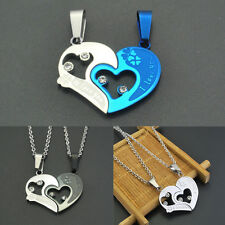 Sweet Lover Couple Necklace Heart Pendant Stainless Steel Chain Valentine Gift