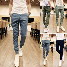 Fashion New Mens Slim Fit Pants Trousers Slacks Casual Long Pants Elastic XS-XL