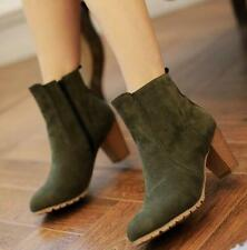 Ankle Faux Suede Women Ladies Winter Side Zip Chunky High Heels Boots Shoes X110