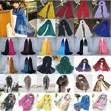 Women Ladies Soft Chiffon/Voile Printed Long Scarf Wrap Shawl Stole Silk Scarves