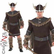 Adult Viking Warrior Costume Deluxe Mens Fancy Dress Outfit & Hat Hagar -New