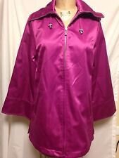 Dennis Basso Water Resistant Satin Jacket w/ Removable Hood XS Pink NWT