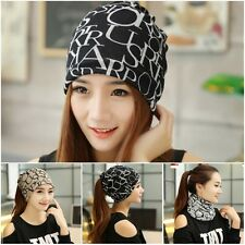 New Womens Solid Wool Beret Warm Beanie Hat Winter Multifunction Scarf Ski Cap -