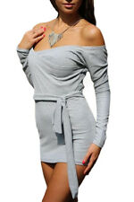 New Women Off Shoulder Bodycon Grey Club Party Cocktail Mini Dress with Self-tie