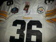 New Pittsburgh Steelers Throwback #36 Jerome Bettis HOF patch sewn White Jersey