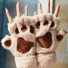 New Soft Warm Winter Women Paw Gloves Fingerless Fluffy Bear Cat Plush Paw Gifts