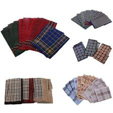 12x Mens Plaid Handkerchief Cotton Pocket Wedding Hanky Hankie Kerchiefs Towel
