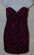 FOREVER 21 Magenta Pink & Black Floral Strapless Cotton Stretch Dress Sz S/P