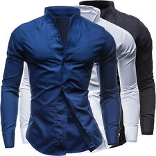 Men's Casual Business Shirts Slim Fit Special Collar Solid Cool Tops New Fashion