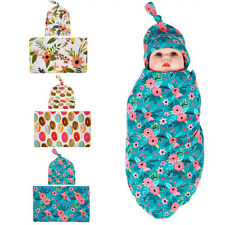 Sweet Floral Knotted Hat & Swaddle Blanket Set Newborn Baby Burp Hat Cloth Sets