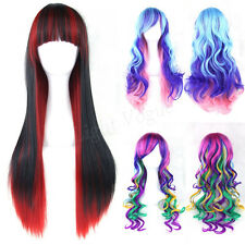 Women's Lady Straight Wavy Mixed  Hair Anime Long Cosplay Party Full Wig New h