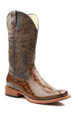 Roper Womens Square Toe Tan Faux Crocodile Leather Western Stitch Cowboy Boots