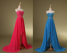 Beaded Blue or Red Chiffon Long Party Eveing Dress Wedding Bridesmaid Dresses