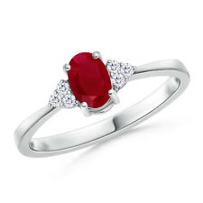 Solitaire Oval Natural Ruby Diamond Engagement Ring 14k White Yellow Gold Size 7